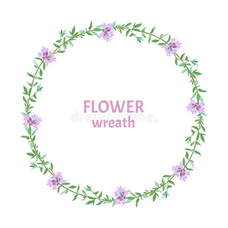 Round kwiecisty wianek sprigs kwiatonośna macierzanka royalty ilustracja