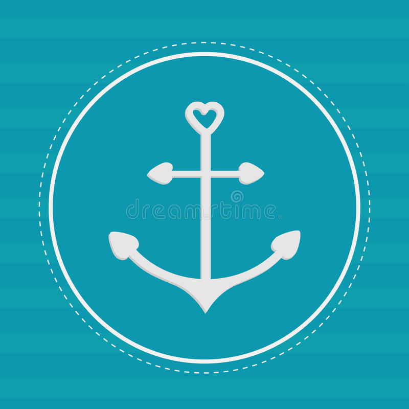 Round label with anchor in shapes of heart. Dash line. Striped b. Ackground. Vector illustration vector illustration