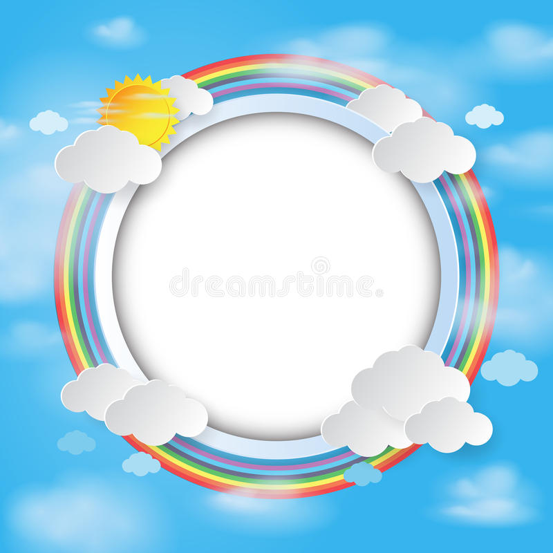 Round label on cloud and sky background. royalty free illustration