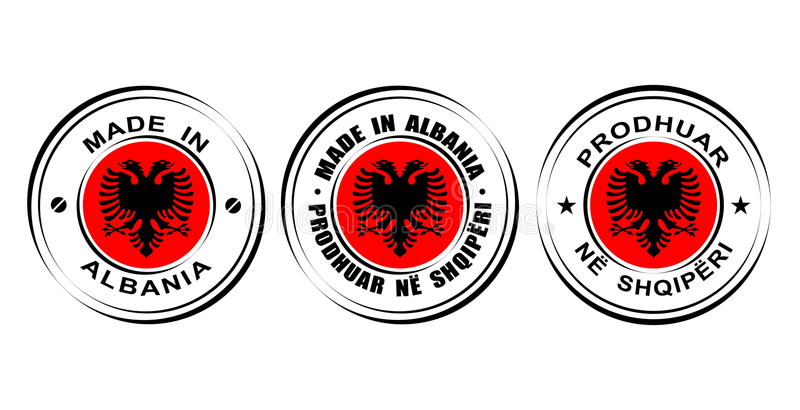 "Round label ""Made in Albania"" with flag, double eagle icon vector illustration"