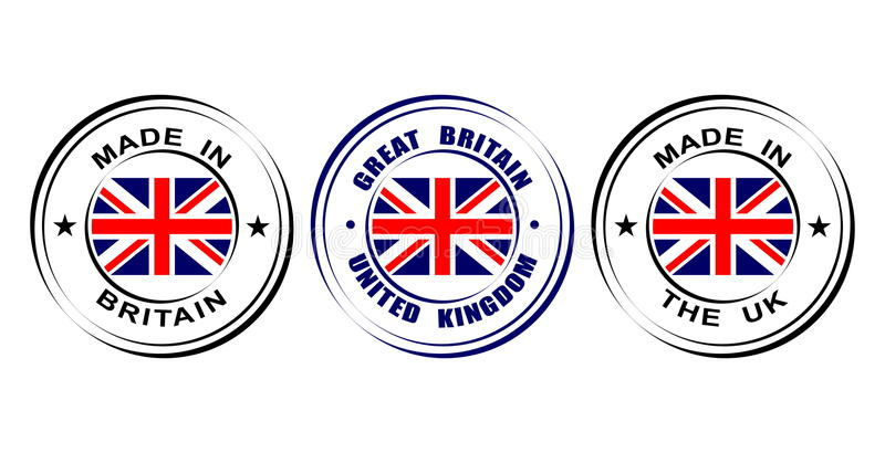 "Round label ""Made in Great Britain, United kingdom"" with flag stock illustration"