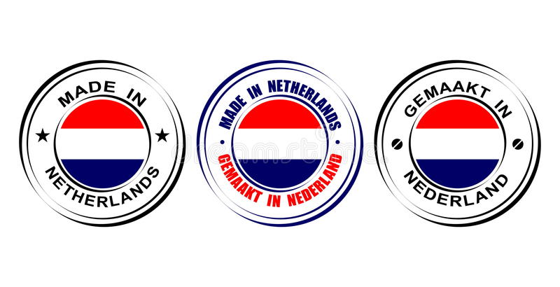 "Round label ""Made in Netherlands"" with flag vector illustration"