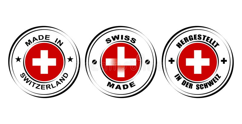 "Round label ""Made in Switzerland"" with flag, ""Swiss made"" with watch icon royalty free illustration"