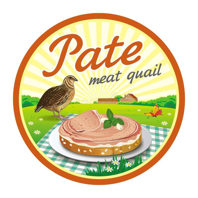 Round label quail pate vector illustration