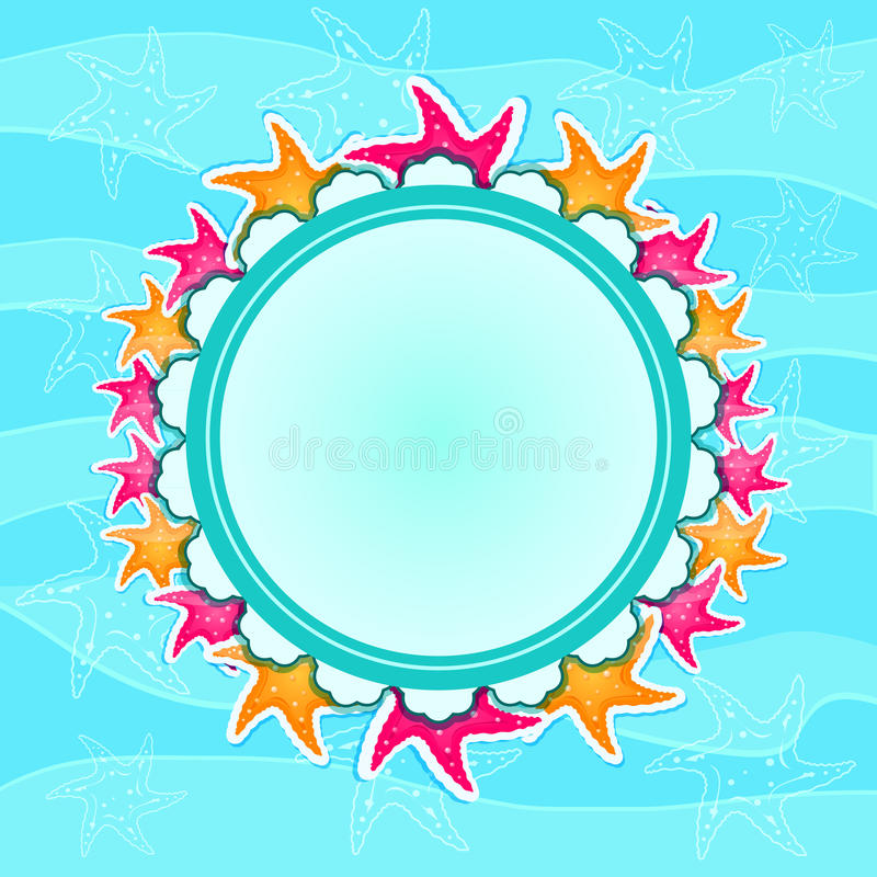 Download Round Label With Starfishes On Wave Background Stock Vector - Illustration of album, pink: 25460820