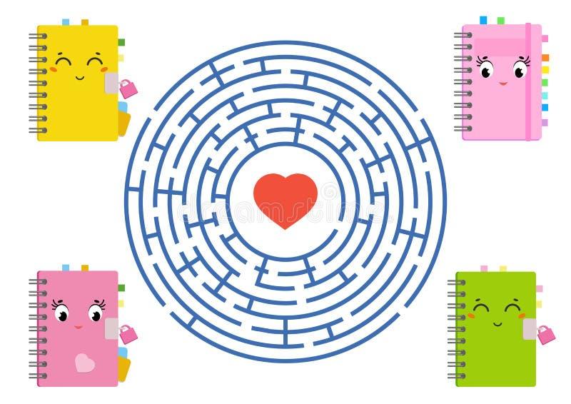 Round labirynt z postać z kreskówki Uroczy szkolni podręczniki Ciekawi i rozwija gra dla dzieci Prosty mieszkanie odizolowywający ilustracja wektor