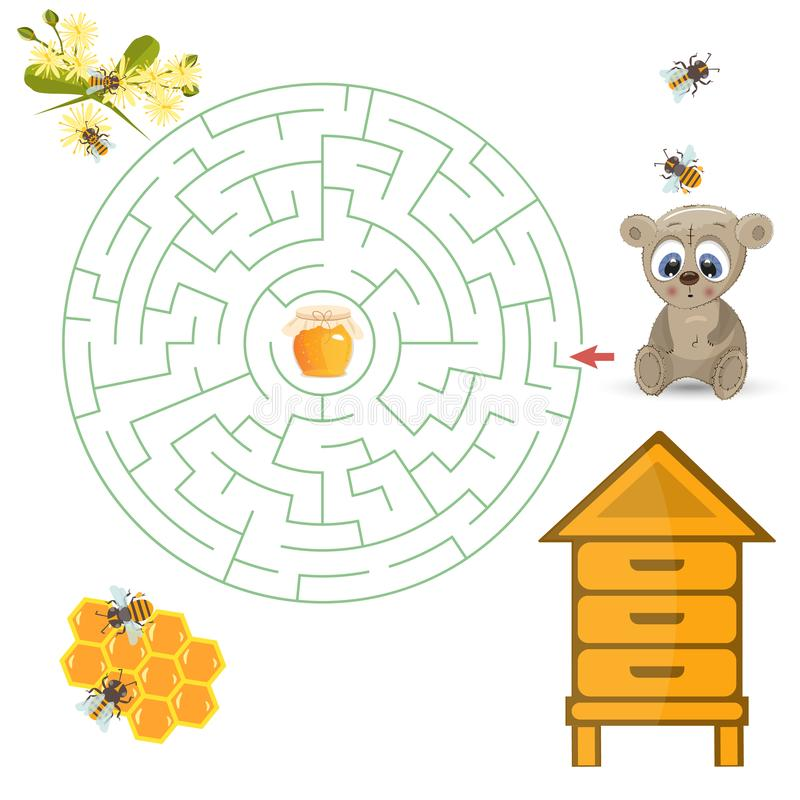 Round labiryntu rzeszota gra, znalezisko sposób twój ścieżka Niedźwiadkowa pomocy znaleziska ścieżka miód ilustracja wektor