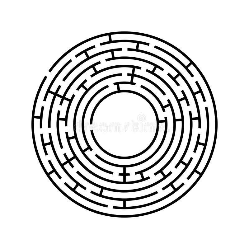 Round labyrinth. An interesting and useful game for children and adults. Simple flat vector illustration isolated on white backgro. Und royalty free illustration