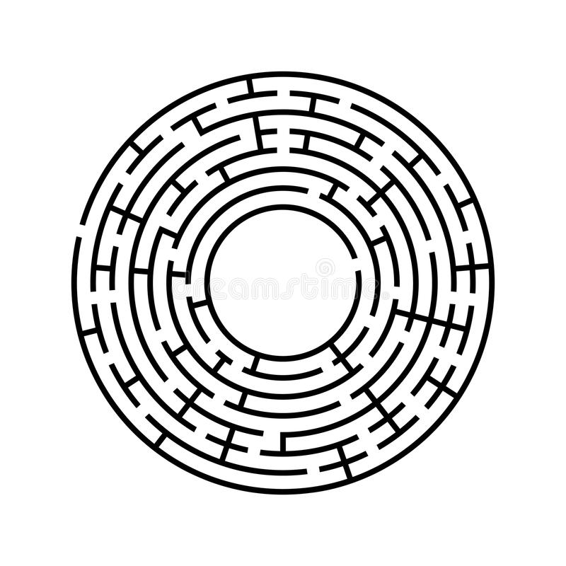 Round labyrinth. An interesting and useful game for children and adults. Simple flat vector illustration isolated on white backgro. Und vector illustration