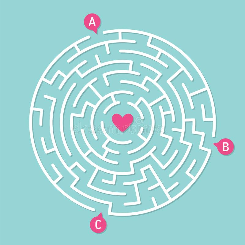 Round labyrinth maze game. Concept of love. Round labyrinth maze game, find your path to heart. Concept of love vector illustration