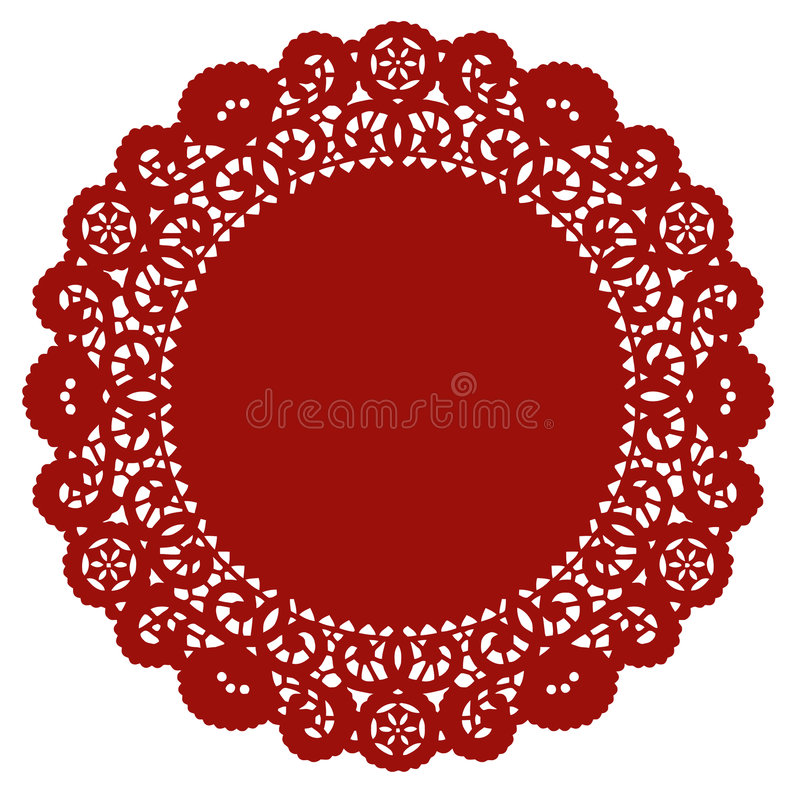 Round Lace Doily, Crimson Royalty Free Stock Image