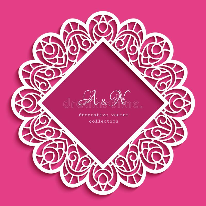 Free Round Lace Frame, Vintage Wedding Decoration Royalty Free Stock Image - 213264036