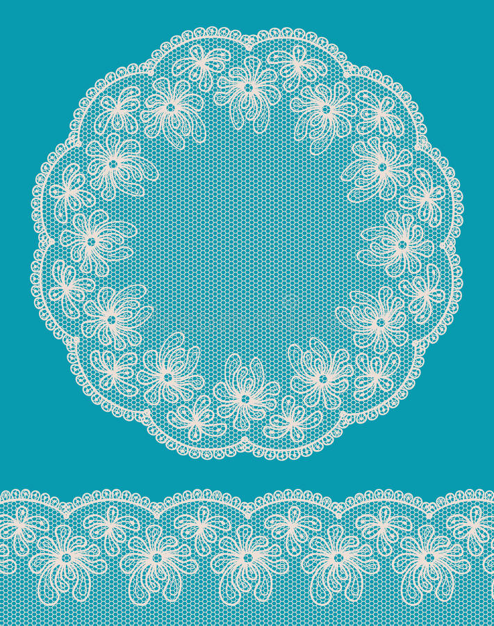 Round lacy frame with lacy bottom border. royalty free illustration