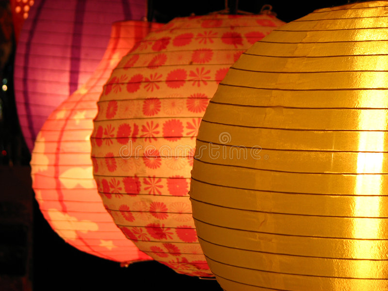 Round Lanterns. Beautiful round skylanterns light up in a house on the first day of Diwali / Christmas festival celebrated worldwide by Indians royalty free stock photo