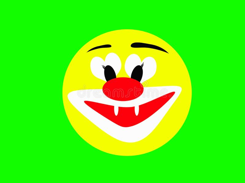 Round laughing yellow face of a merry clown on a green background royalty free stock image