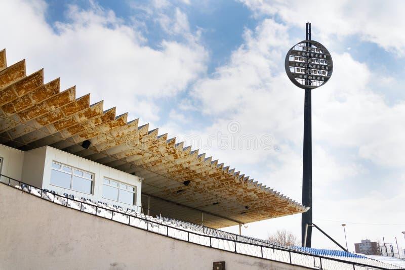 Round lighting panels at football sport stadium Hradec Kralove, Czech Republic. Round lighting panels called Lizatka - Lollipops at football sport stadium Hradec stock images