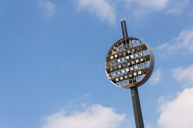 Round lighting panels at football sport stadium Hradec Kralove, Czech Republic. Round lighting panels called Lizatka - Lollipops at football sport stadium Hradec stock photo