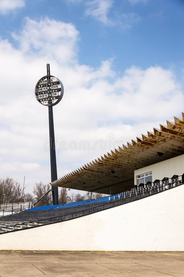 Round lighting panels at football sport stadium Hradec Kralove, Czech Republic. Round lighting panels called zatka - Lollipops at football sport stadium Hradec stock images