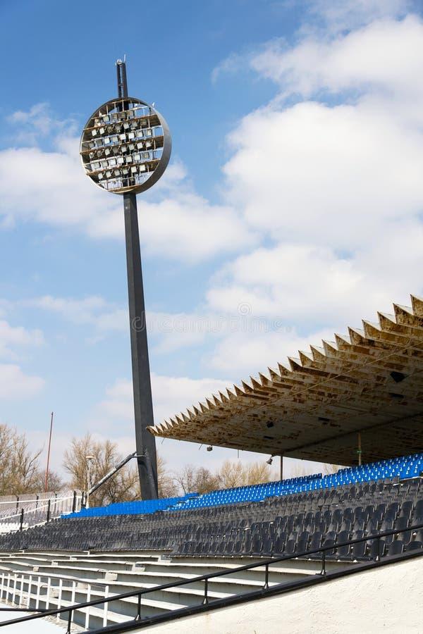 Round lighting panels at football sport stadium Hradec Kralove, Czech Republic. Round lighting panels called Lizatka - Lollipops at football sport stadium Hradec stock photos