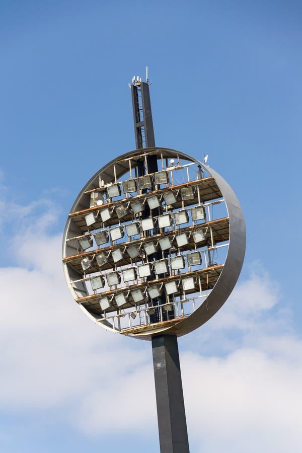 Round lighting panels at football sport stadium Hradec Kralove, Czech Republic. Round lighting panels called Lizatka - Lollipops at football sport stadium Hradec stock image
