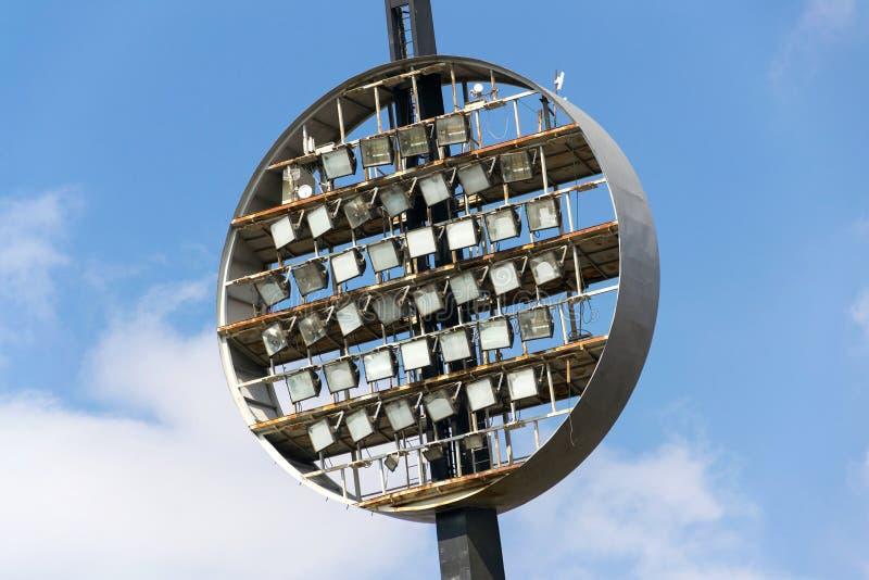 Round lighting panels at football sport stadium Hradec Kralove, Czech Republic. Round lighting panels called Lizatka - Lollipops at football sport stadium Hradec royalty free stock image