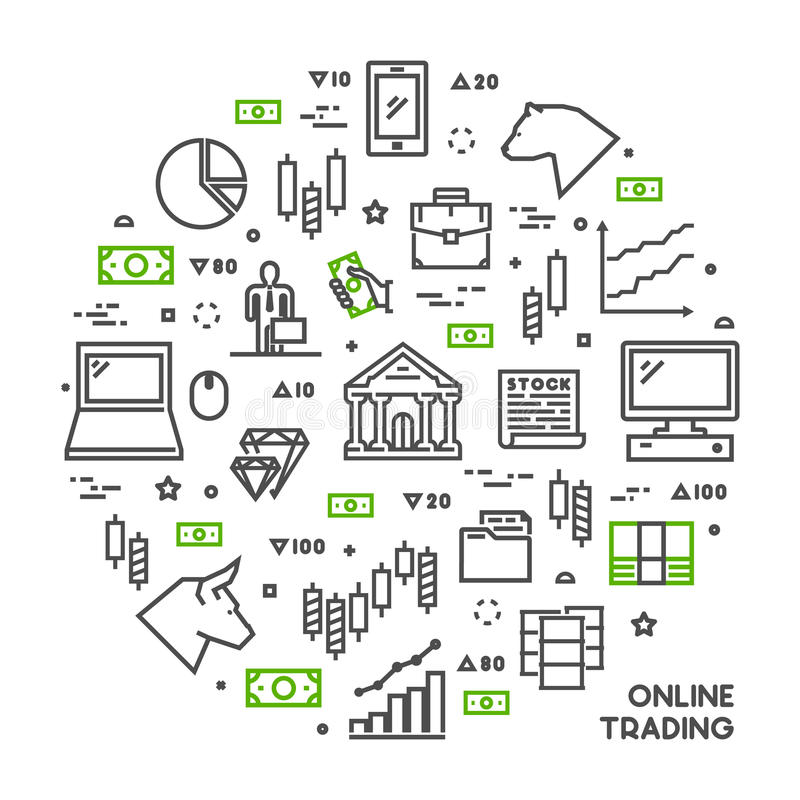 Round line concept for online trading. Vector linear symbol for online investment. Open path stock illustration