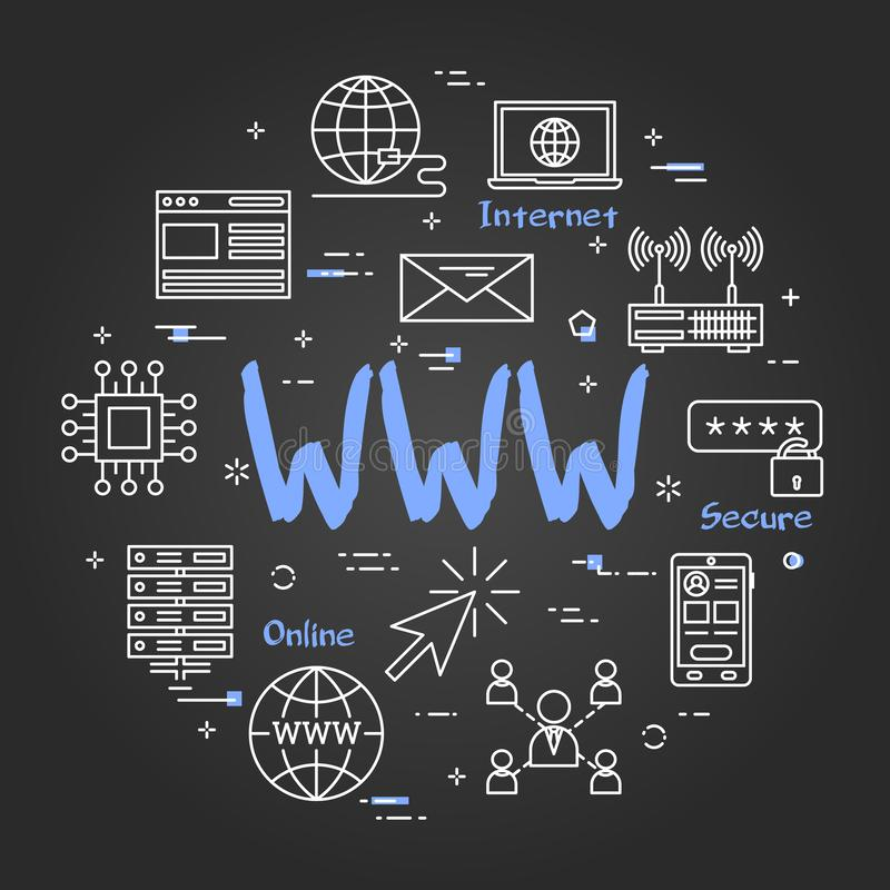 Round linear banner - WWW internet on black chalkboard. Vector linear round concept of WWW internet. Thin line icons of world wide internet connection. Modern vector illustration