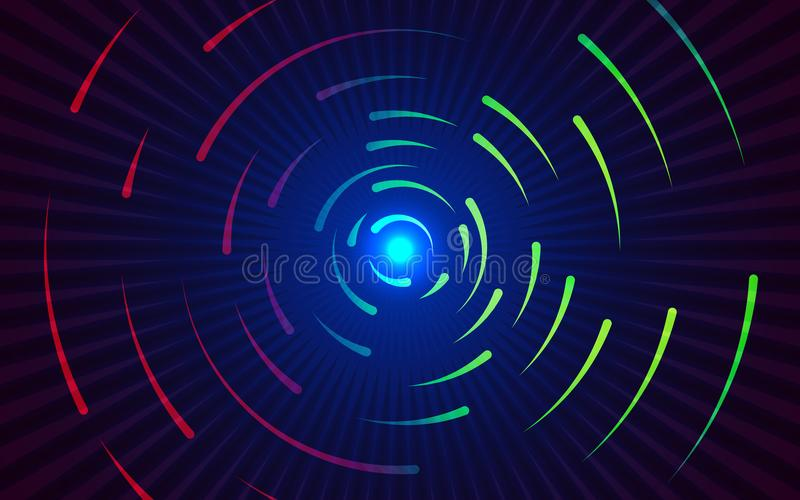 Round lines background. Abstract colorful gradient backdrop. Red and green swirling lines. Circling colored shapes. Vector illustration stock illustration
