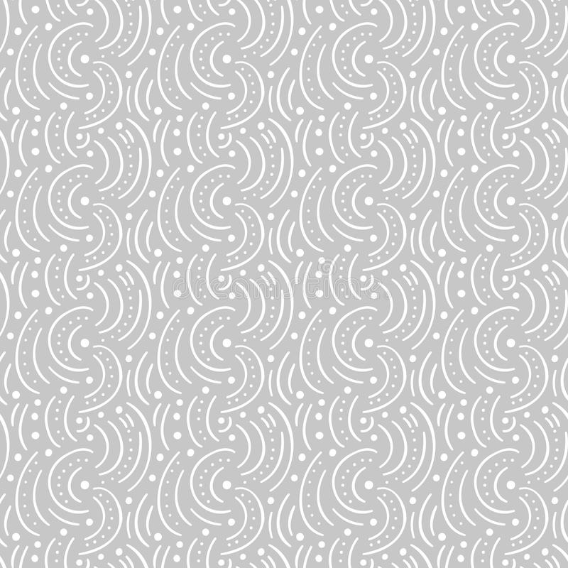 Round lines and dots abstract vector seamless pattern. Modern gray and white background royalty free illustration