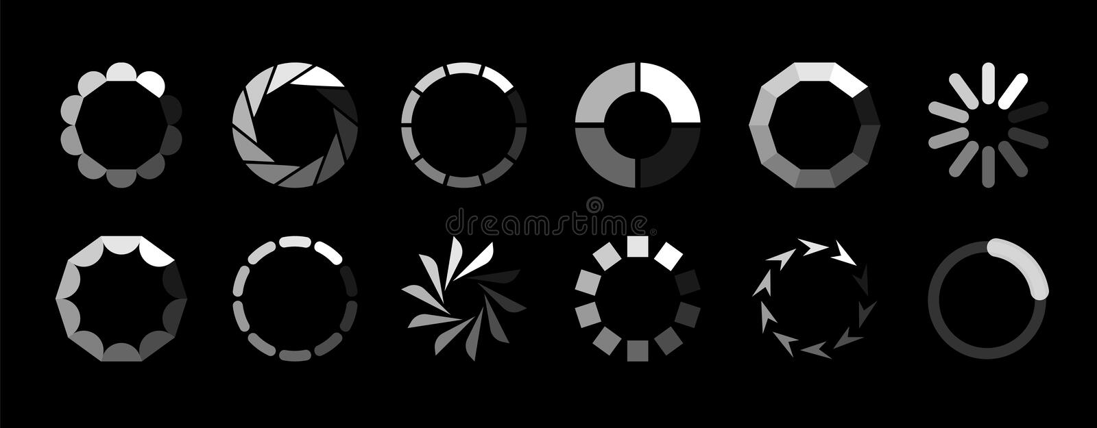 Round loader. Progressive internet buffering upload loading website interface sign vector isolated icon set on black. Round loader. Progressive internet royalty free illustration