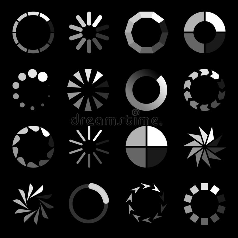 Round loader. Progressive wait download internet buffering upload website interface sign vector isolated icon set. Circle loader. Progressive wait download stock illustration