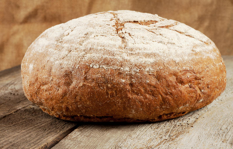 Round loaf of black bread royalty free stock image
