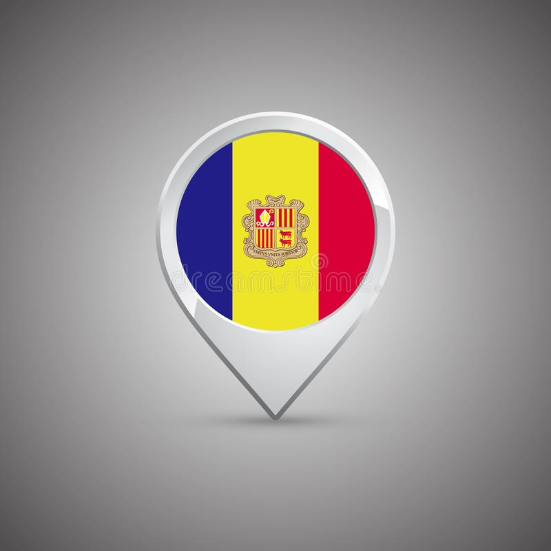 Round location pin with flag of Andorra stock illustration