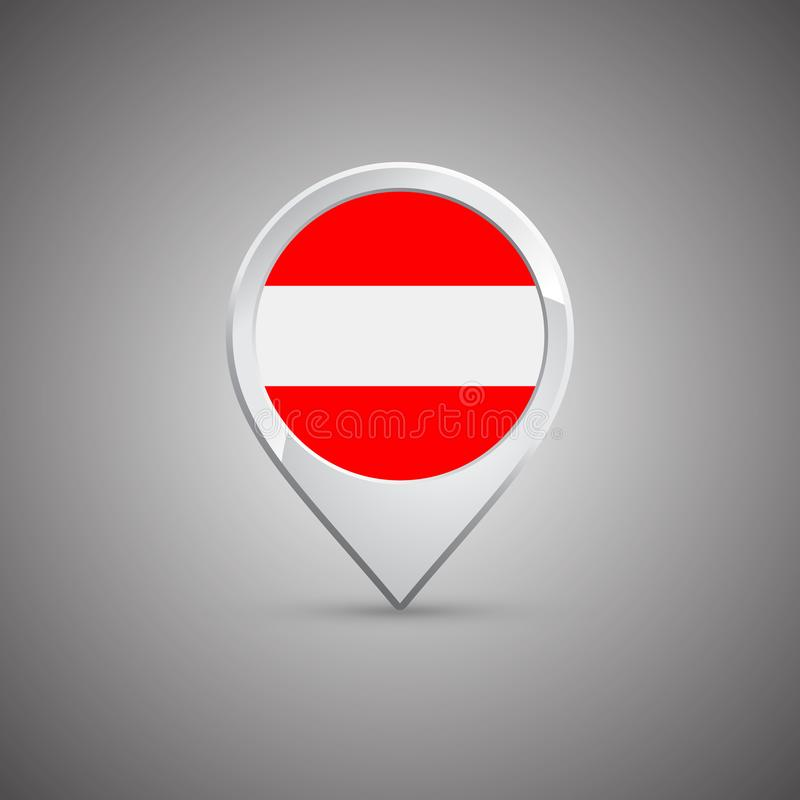 Round location pin with flag of Austria vector illustration
