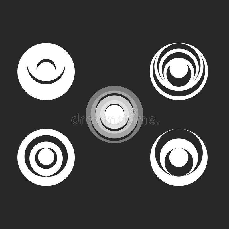 Round logo black and white radial ripples on the water abstract geometric shapes set icon vector illustration