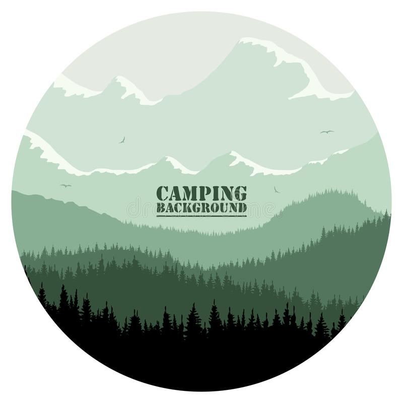 Round logo for camping, hunting season. Silhouette of spruce forest and mountains on the horizon. stock images
