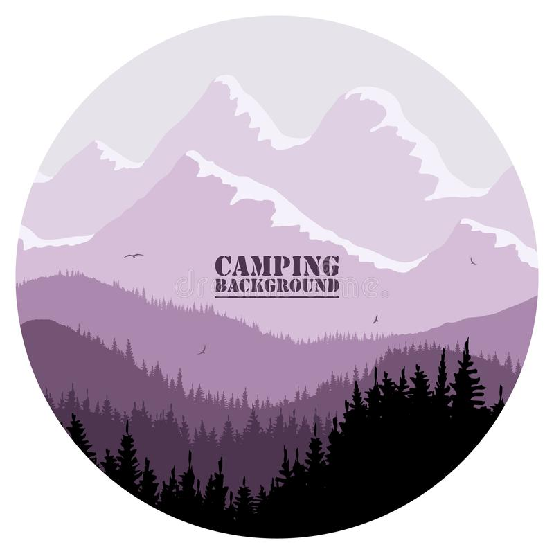 Round logo for camping, hunting season. Silhouette of spruce forest and mountains on the horizon. stock image