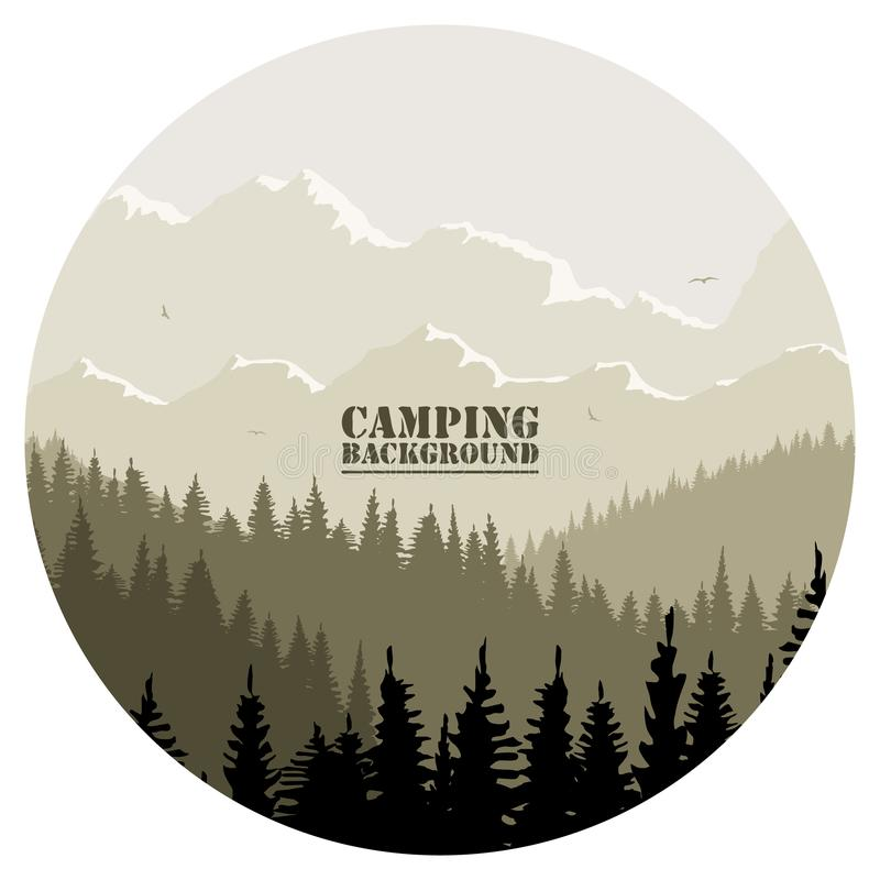 Round logo for camping, hunting season. Silhouette of spruce forest and mountains on the horizon. stock photos