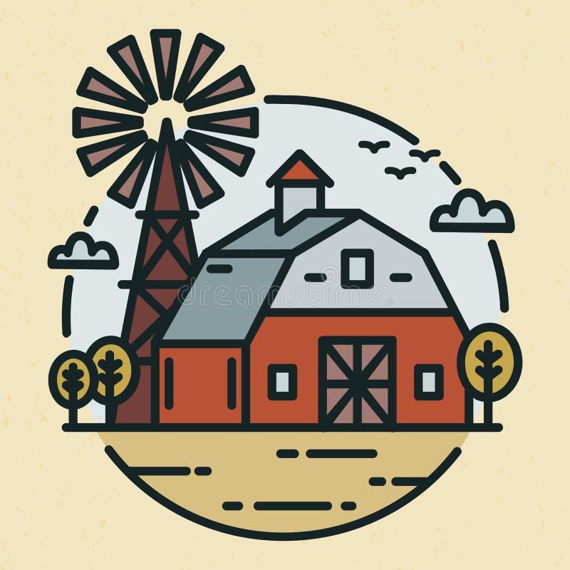 Round logotyp z ziemia uprawna krajobrazem, dom na wsi, rolniczy budynek lub wiatraczek w kreskowej sztuce, projektujemy kreatywn ilustracja wektor