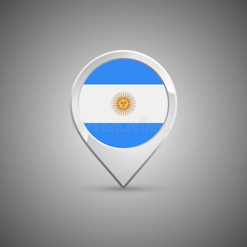 Round lokaci szpilka z flaga Argentyna royalty ilustracja