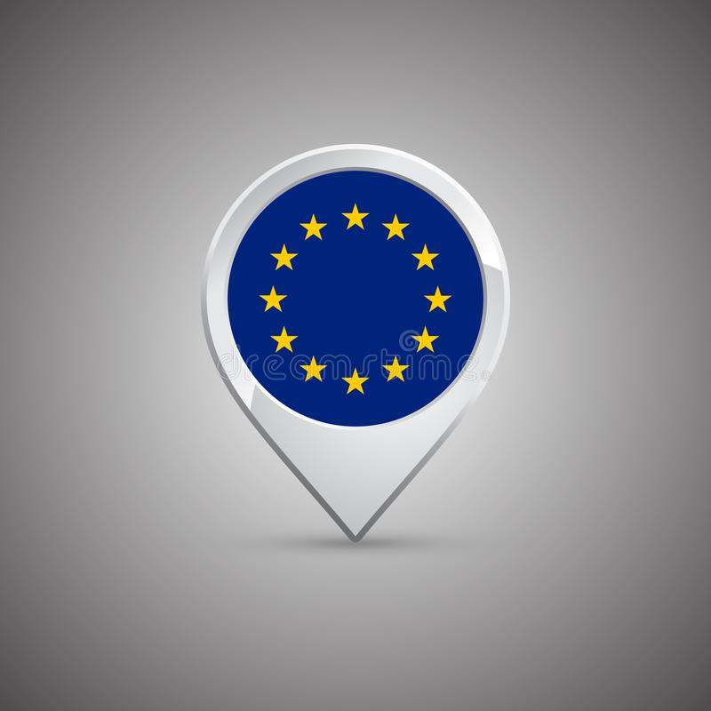 Round lokaci szpilka z flaga Europejski zjednoczenie ilustracji