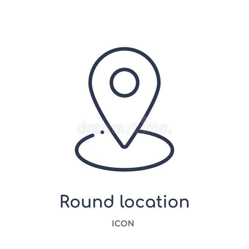 round lokacji wskaźnika ikona od interfejs użytkownika konturu kolekcji Cienieje kreskową round lokacji wskaźnika ikonę odizolowy royalty ilustracja