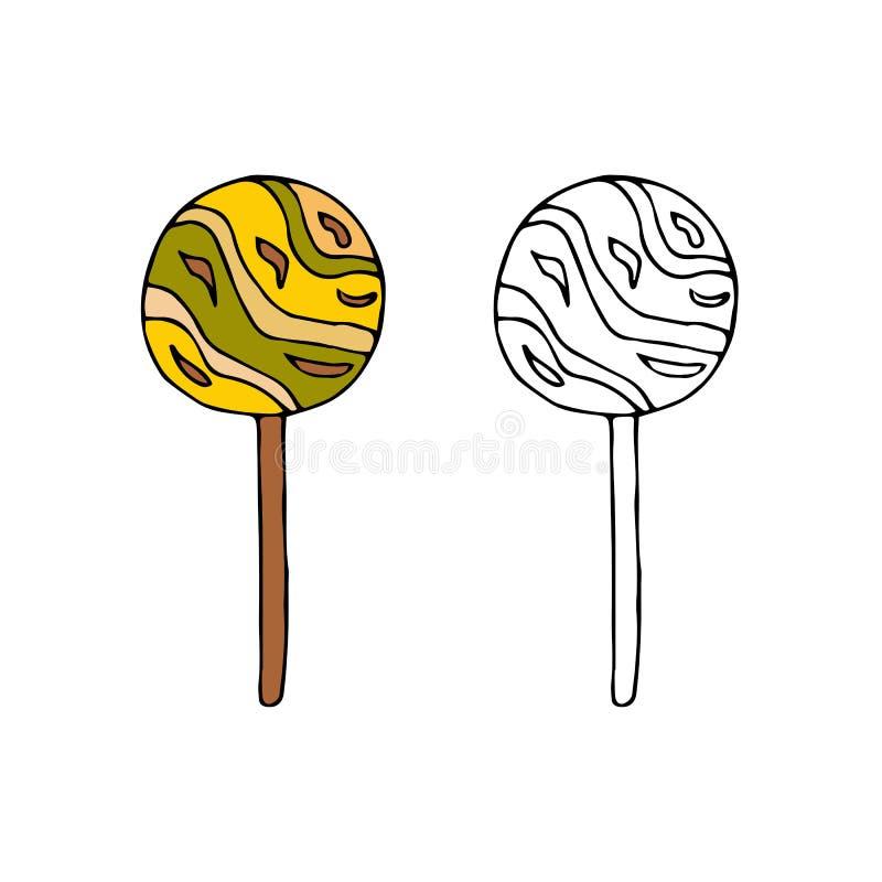 Round lollipop.hand drawn vector illustration.doodles cartoon s. Round lollipop.hand drawn vector illustration.doodles or cartoon style vector illustration