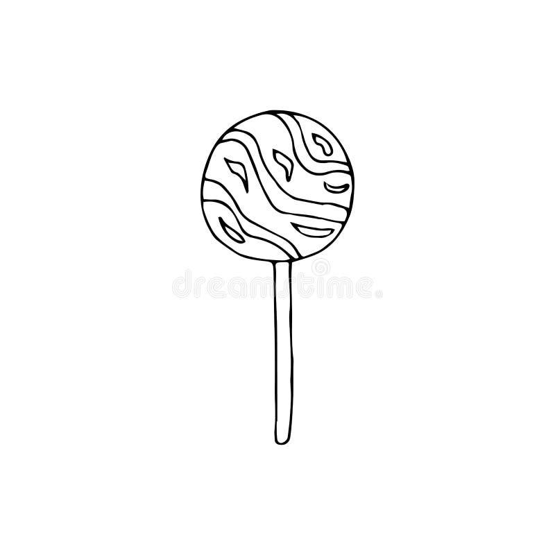 Round lollipop.hand drawn vector illustration.doodles cartoon s. Round lollipop.hand drawn vector illustration.doodles or cartoon style stock illustration
