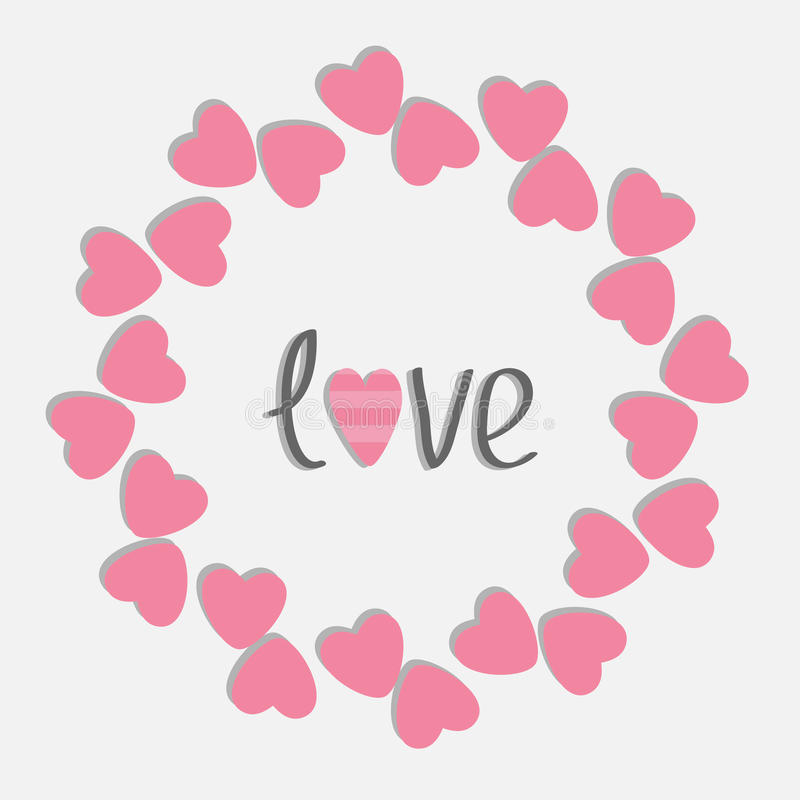 Free Round Love Frame With Pink Hearts. Isolated. Flat Design Style. Royalty Free Stock Photos - 45125318