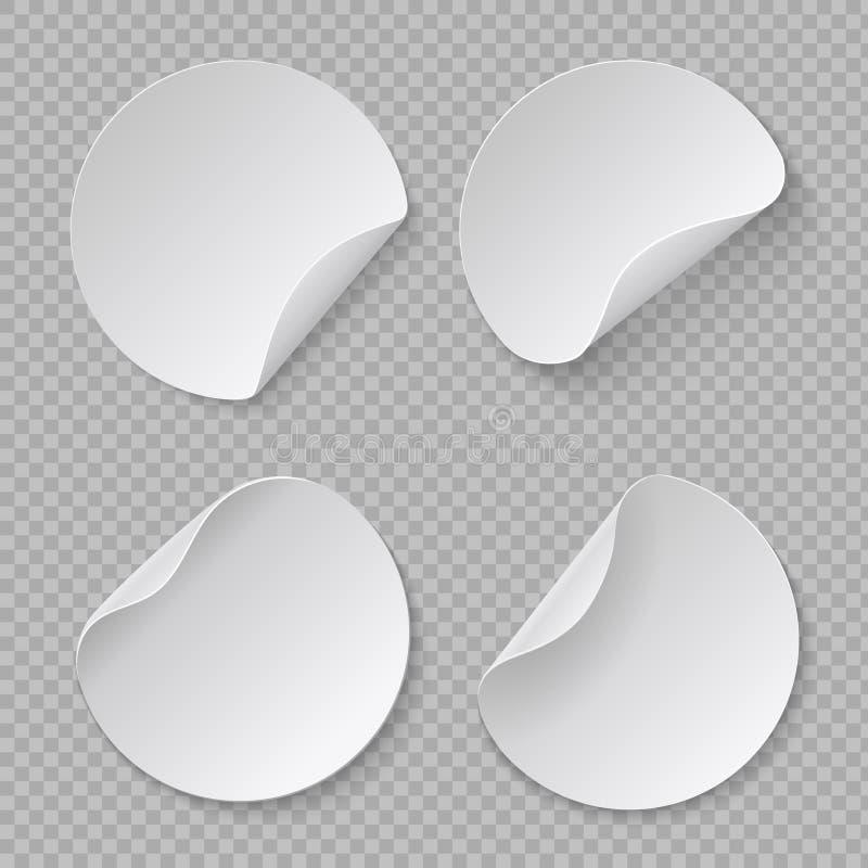 Round majcheru mockup Biała okrąg metka, pusty adhezyjny fałdu papier, kartonowy sztandaru szablon Wektor realistyczny ilustracja wektor