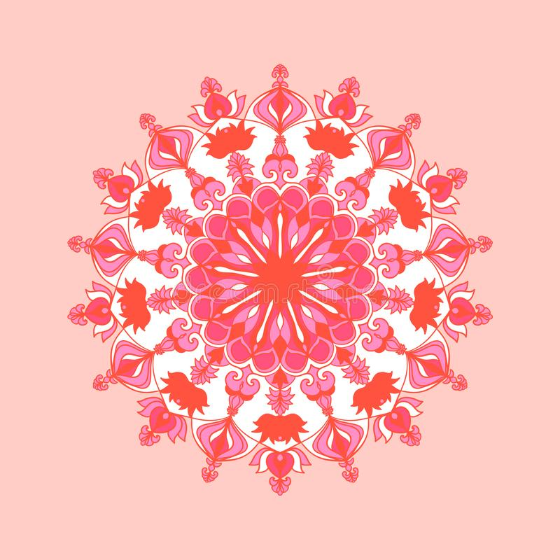 Round mandala design. Floral pattern. Yoga template. Element for cards, poster, banner, web. Round mandala design in pink colors. Floral pattern. Yoga template stock illustration