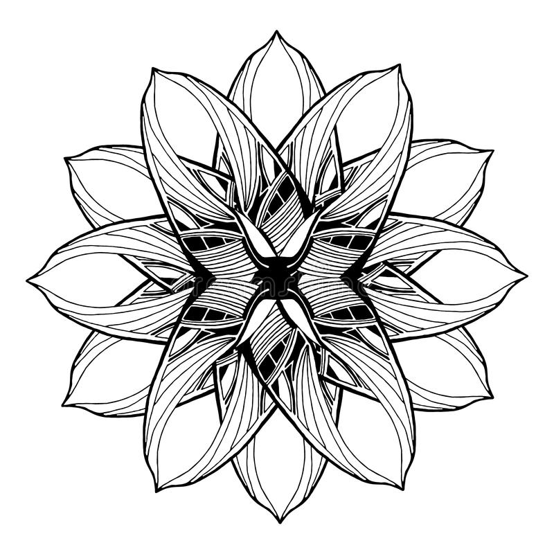 Round mandala element for coloring book. Black and white floral pattern. stock illustration