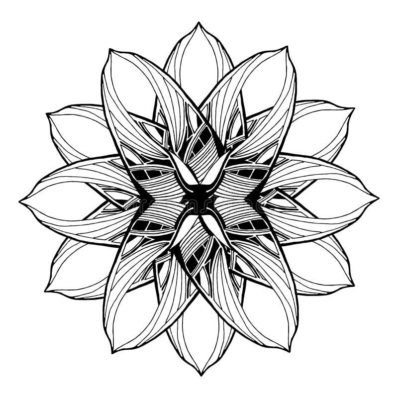 Round mandala element dla kolorystyki książki czarny motyli kwiecisty kwiatów wzoru biel ilustracji
