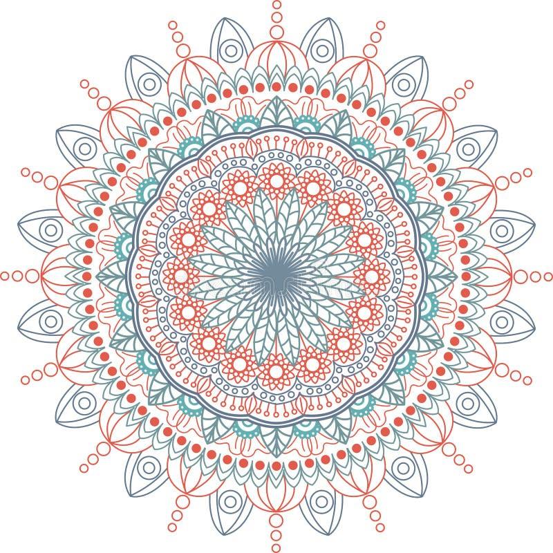 Round mandala ilustracja Wektorowy tło odosobniony, biały tło royalty ilustracja